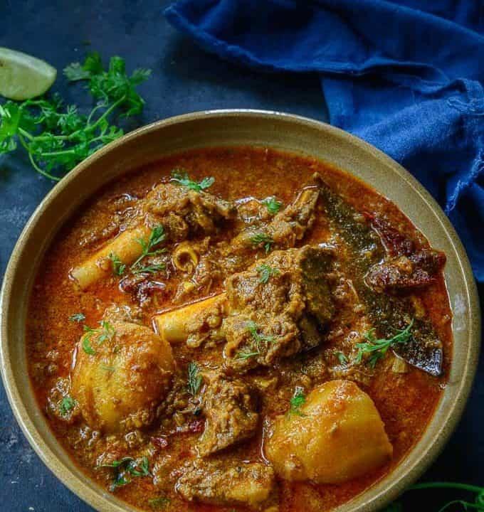 Punjabi Mutton Curry served in a bowl.