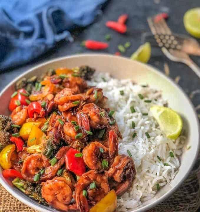 Shrimp Stir fry served with steamed rice.
