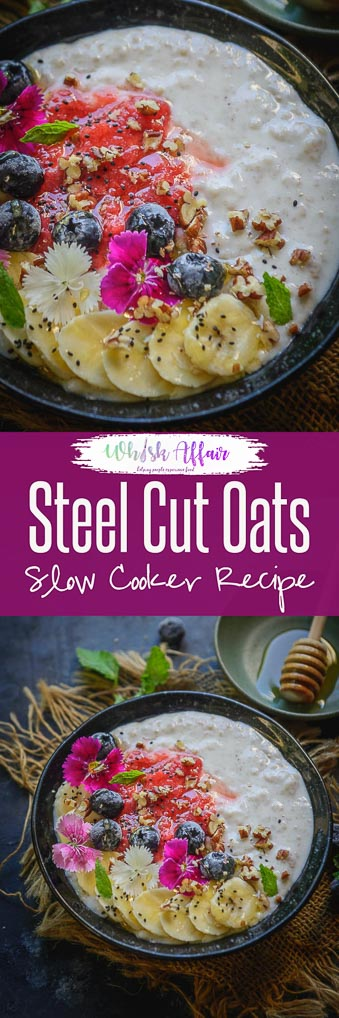 Make these Slow Cooker Steel Cuts Oats with literally no effort and get your healthy breakfast fixed. These old fashioned oats are vegan and gluten free and are best for weight watchers. Here is how to make Steel Cut Oats in Slow Cooker. #SlowCooker #SteelCutOats #Healthy #Breakfast #Vegan #GlutenFree #Recipe #OldfashionedOats