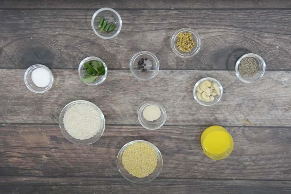 Ven Pongal Ingredients.