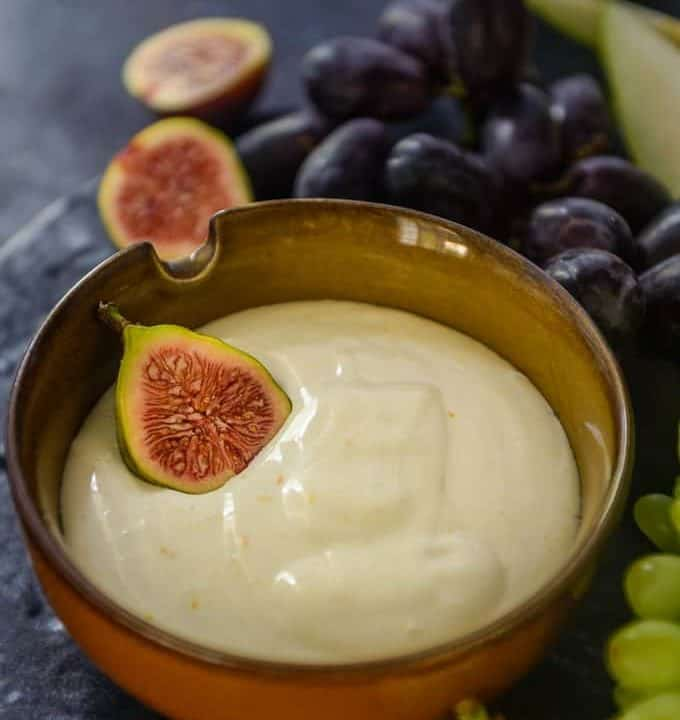Cream Cheese Fruit Dip served in a bowl.