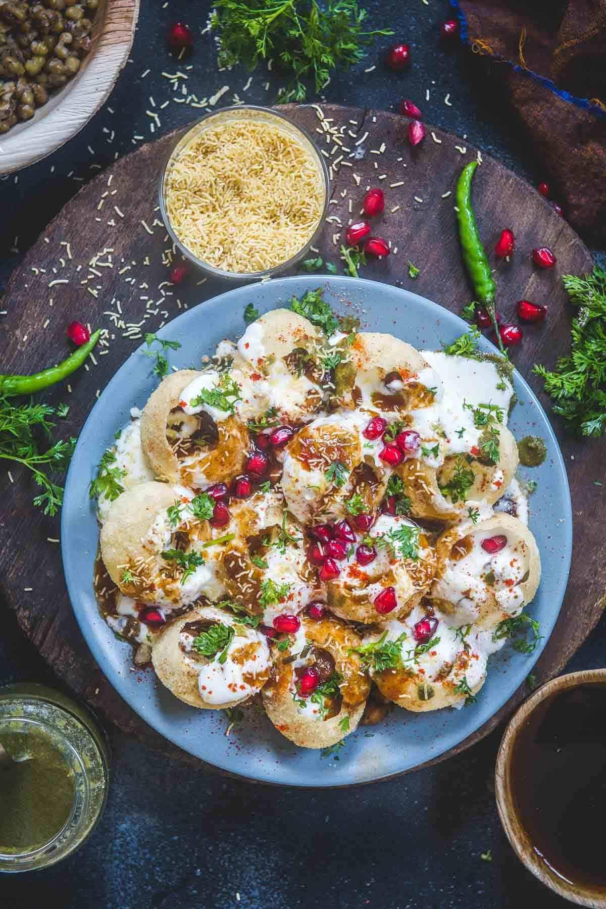 Dahi Puri served on a plate.