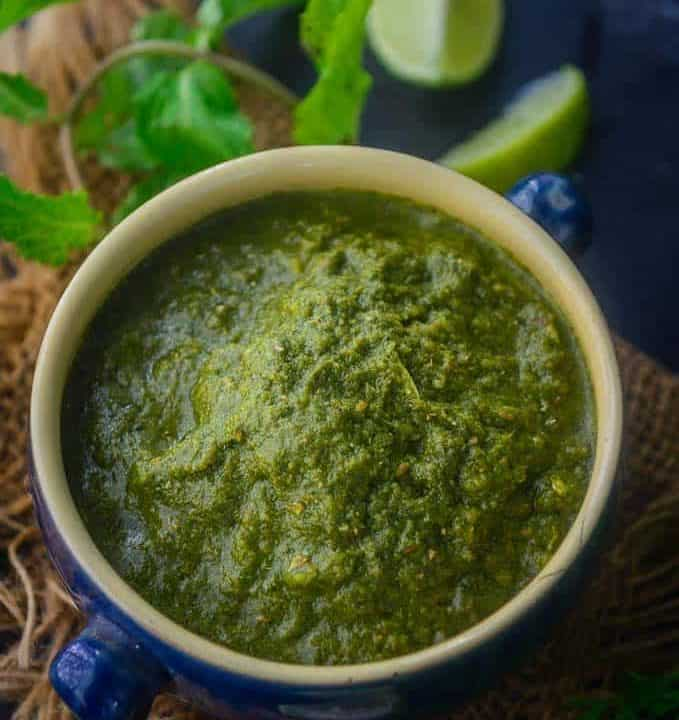 Green Chutney served in a bowl.