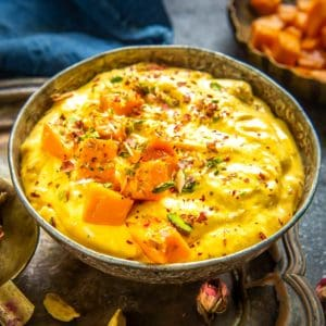 Mango shrikhand, also called Amrakhand is a popular Indian dessert recipe made using yogurt and mango puree. It is a delicious and refreshing variation of the classic shrikhand. Here is how to make it.