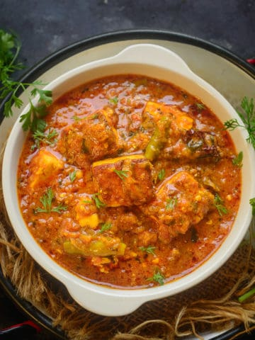 Paneer Masala is easy to make dish of paneer where paneer cubes are simmered in an onion-tomato based spicy gravy. It can be paired with Indian bread or Jeera Rice.