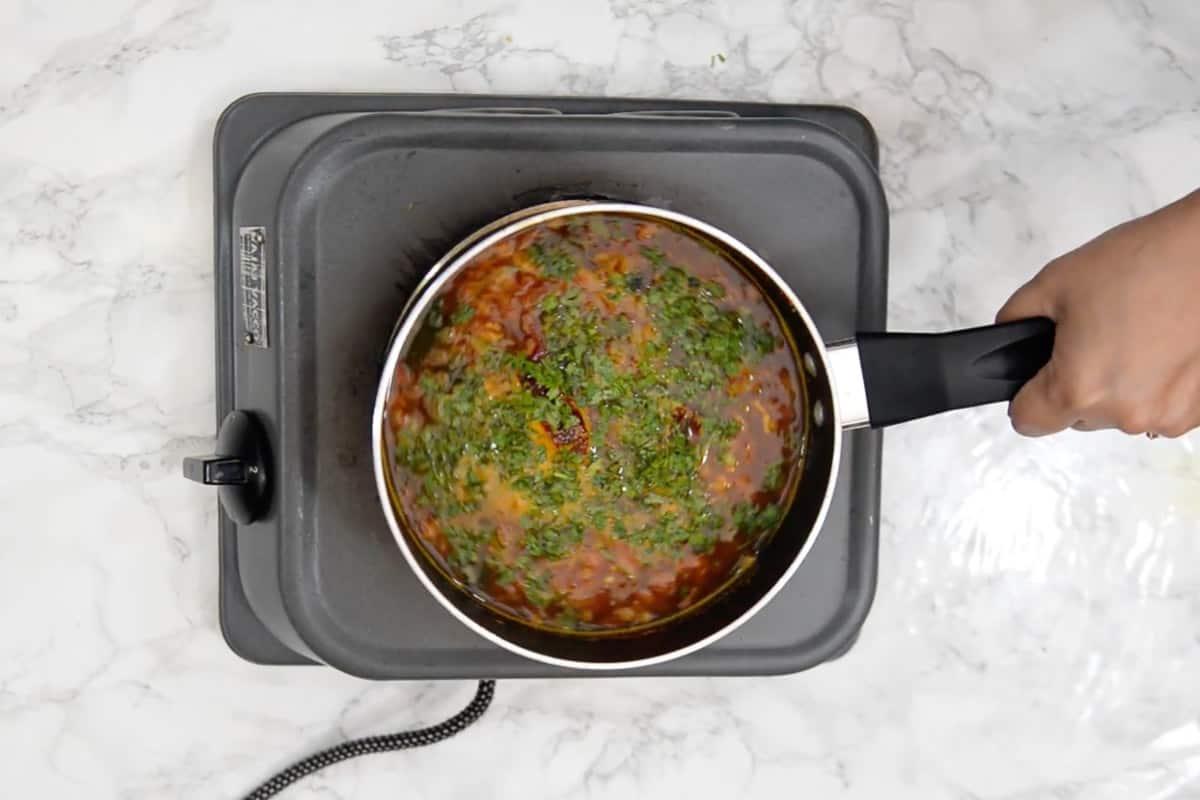 Ready pepper rasam.