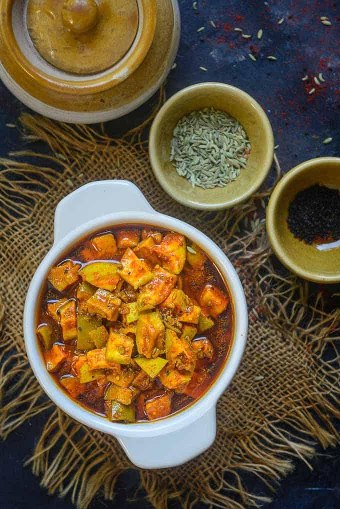 Rajasthani Aam ka Achar served in a bowl.
