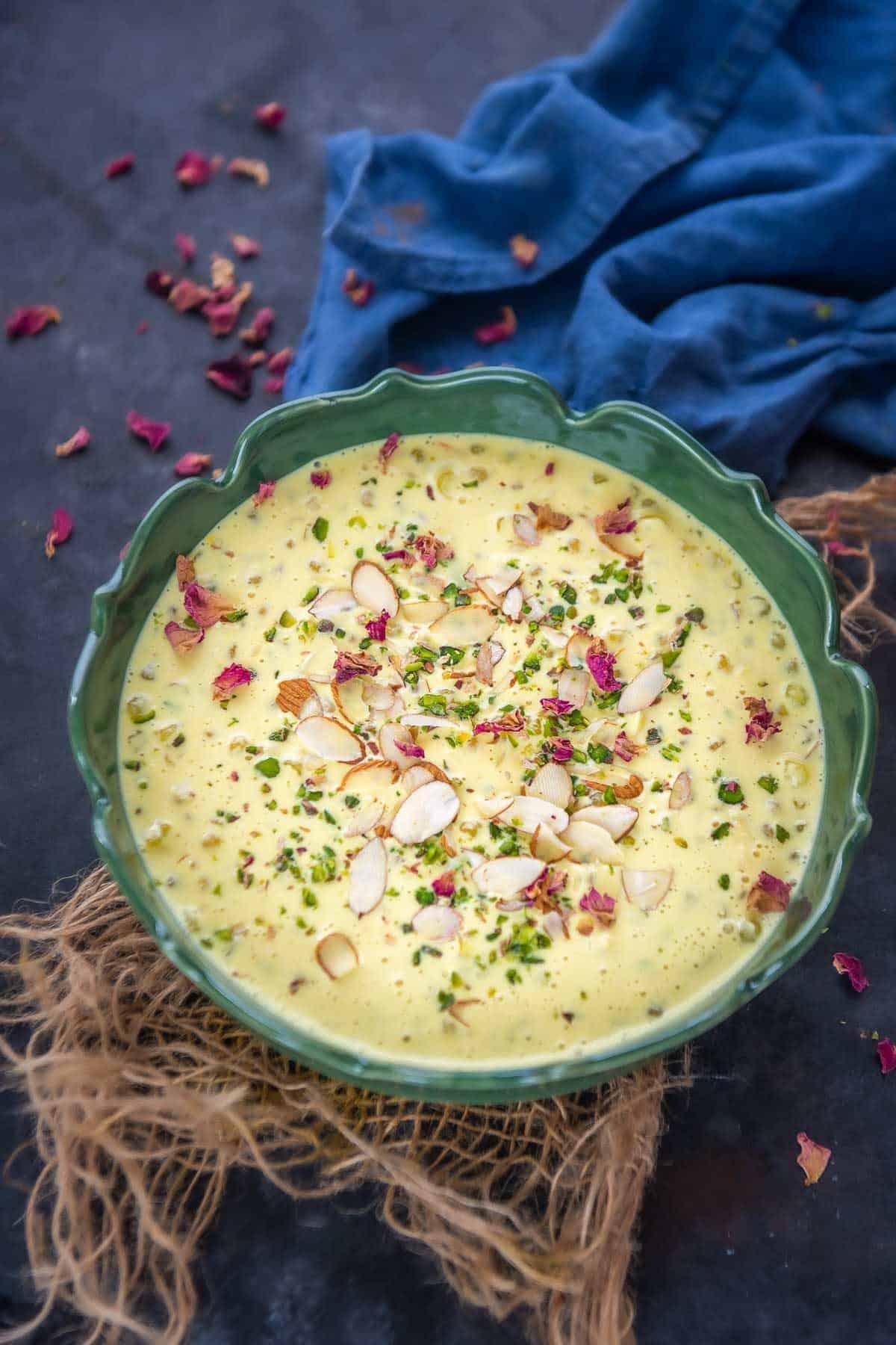 Sabudana Kheer served in a bowl.