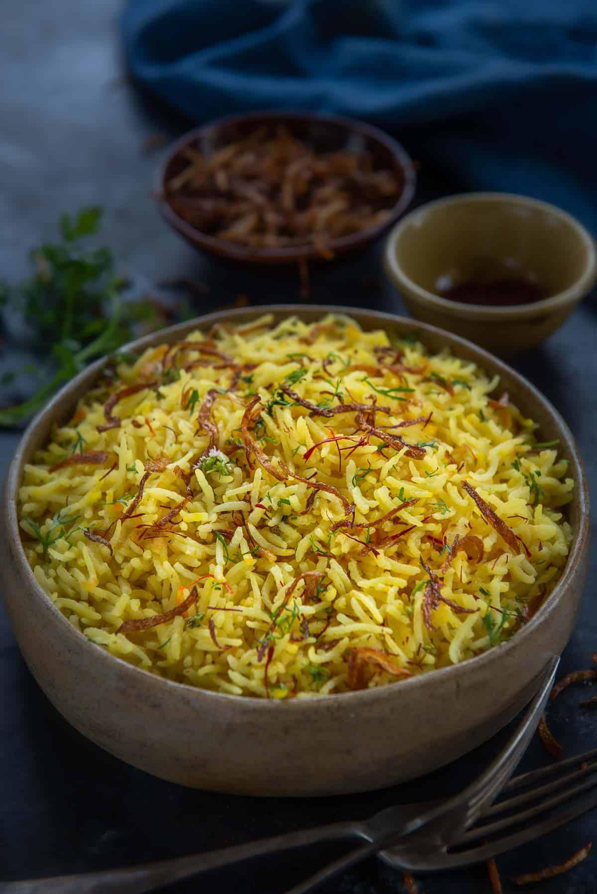 Saffron rice served in a bowl.