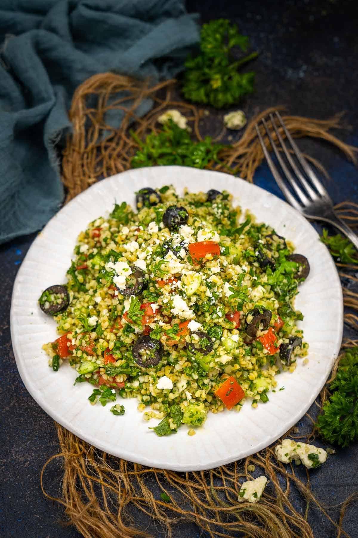 Tabouli salad served on a plate.
