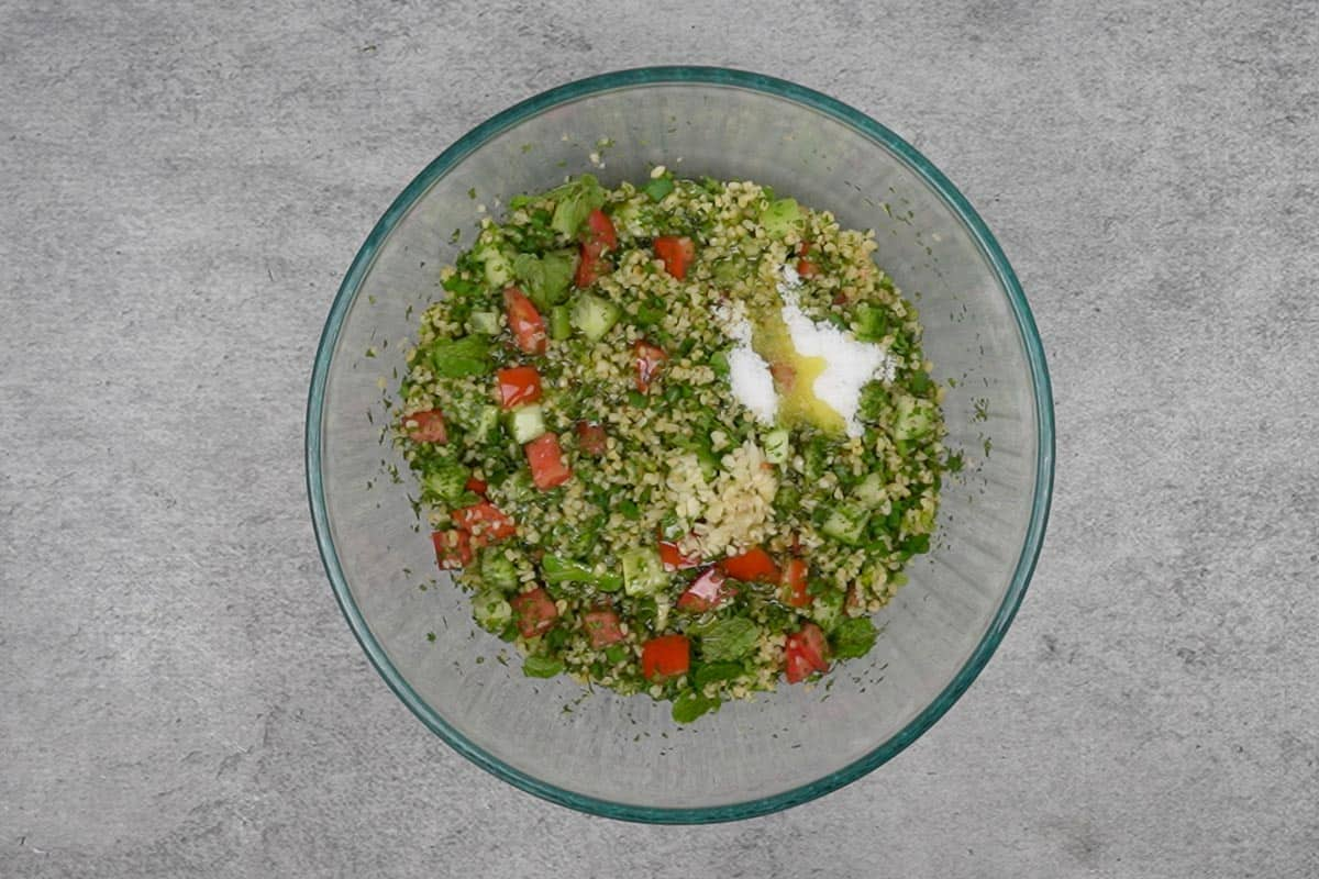 Remaining ingredients added to the ready tabouli salad.