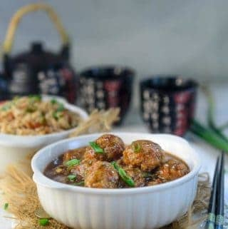 Veg Manchurian served in a bowl.