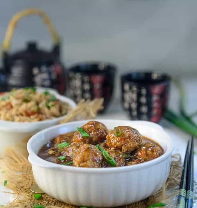 Veg Manchurian served in a bowl.