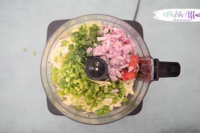 Veggies added in food processor.