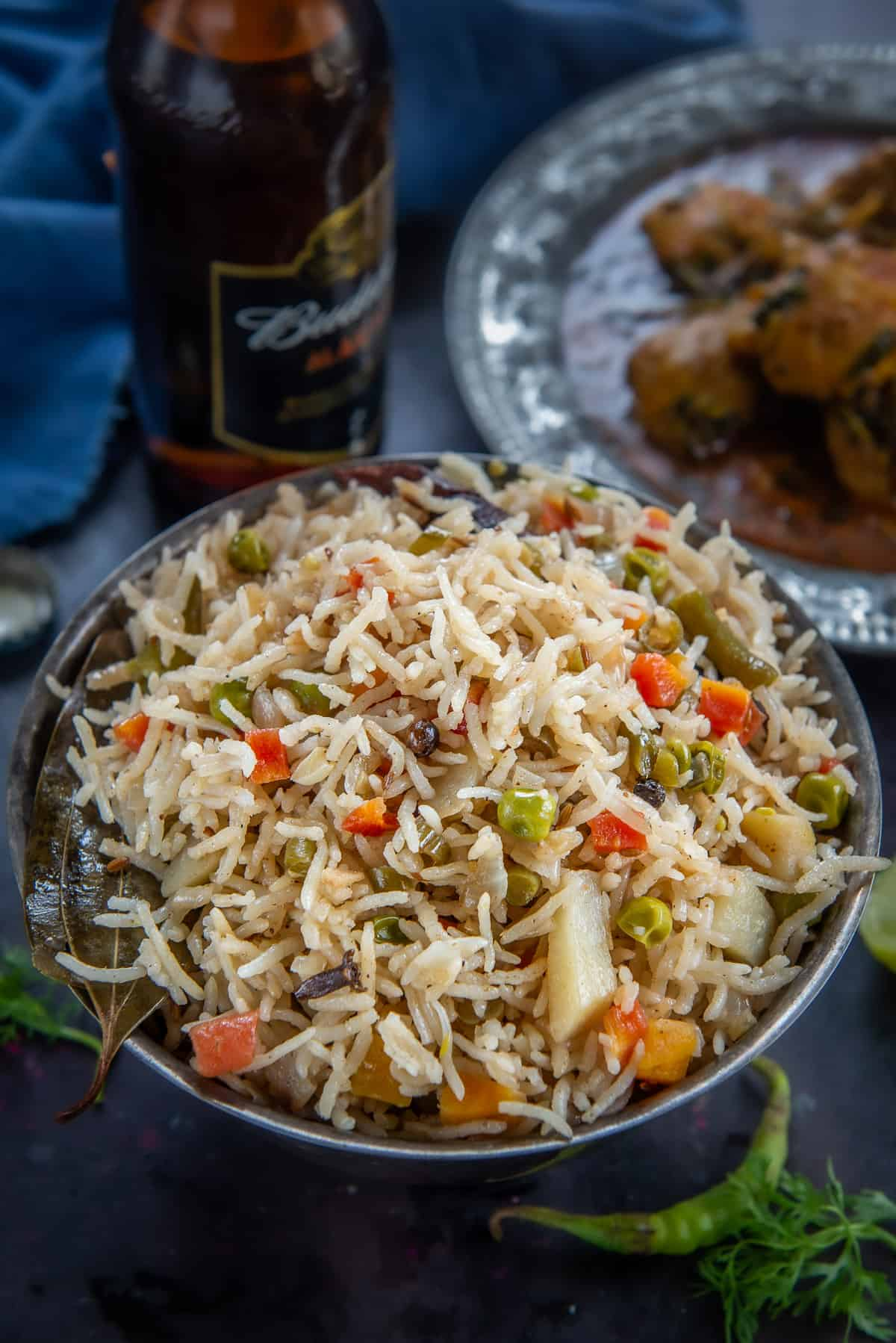 Veg Pulao served in a bowl.