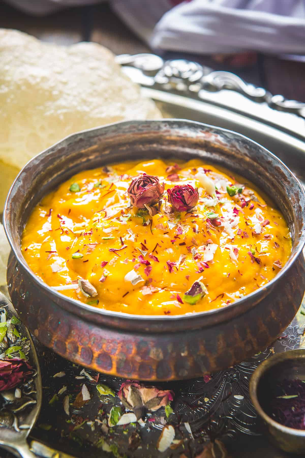 Aamras served in a bowl.