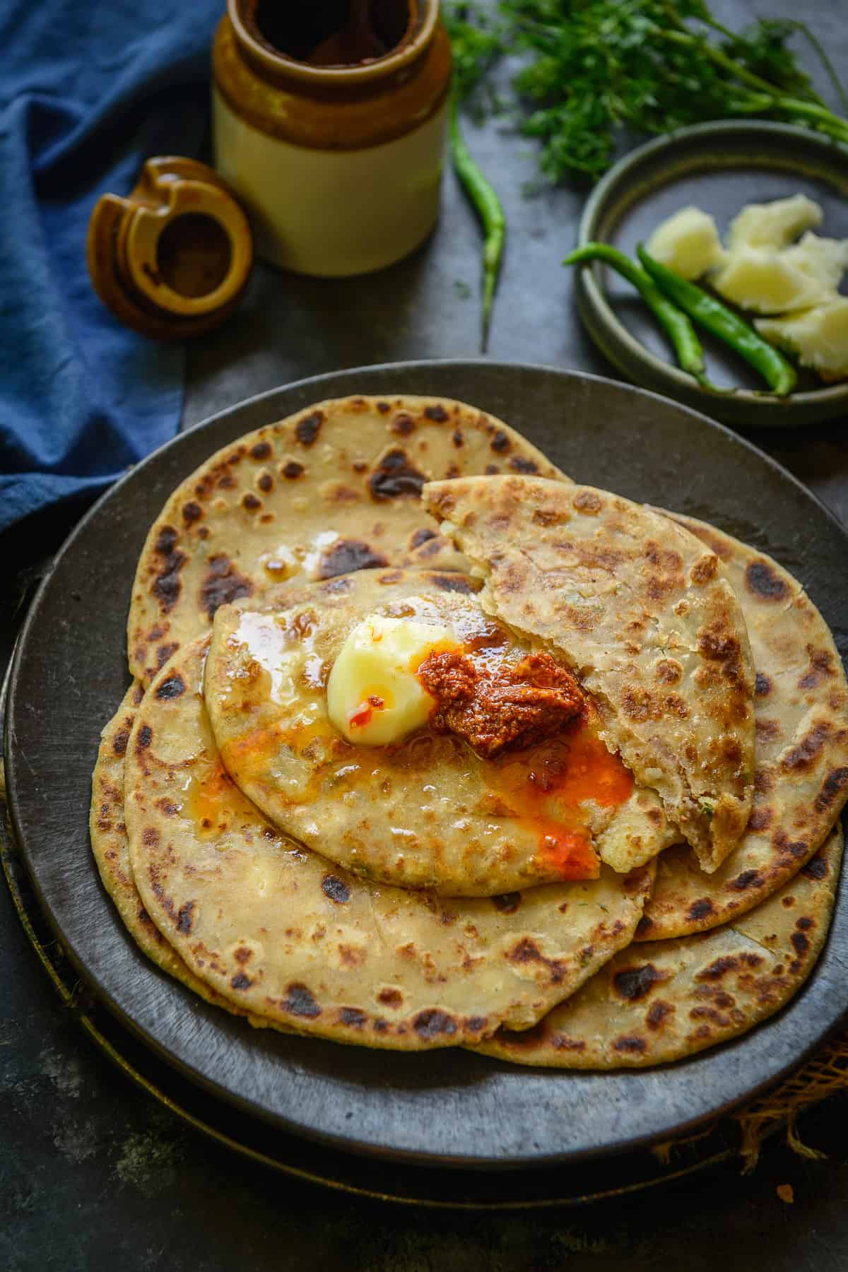Aloo Paratha served on a plate.