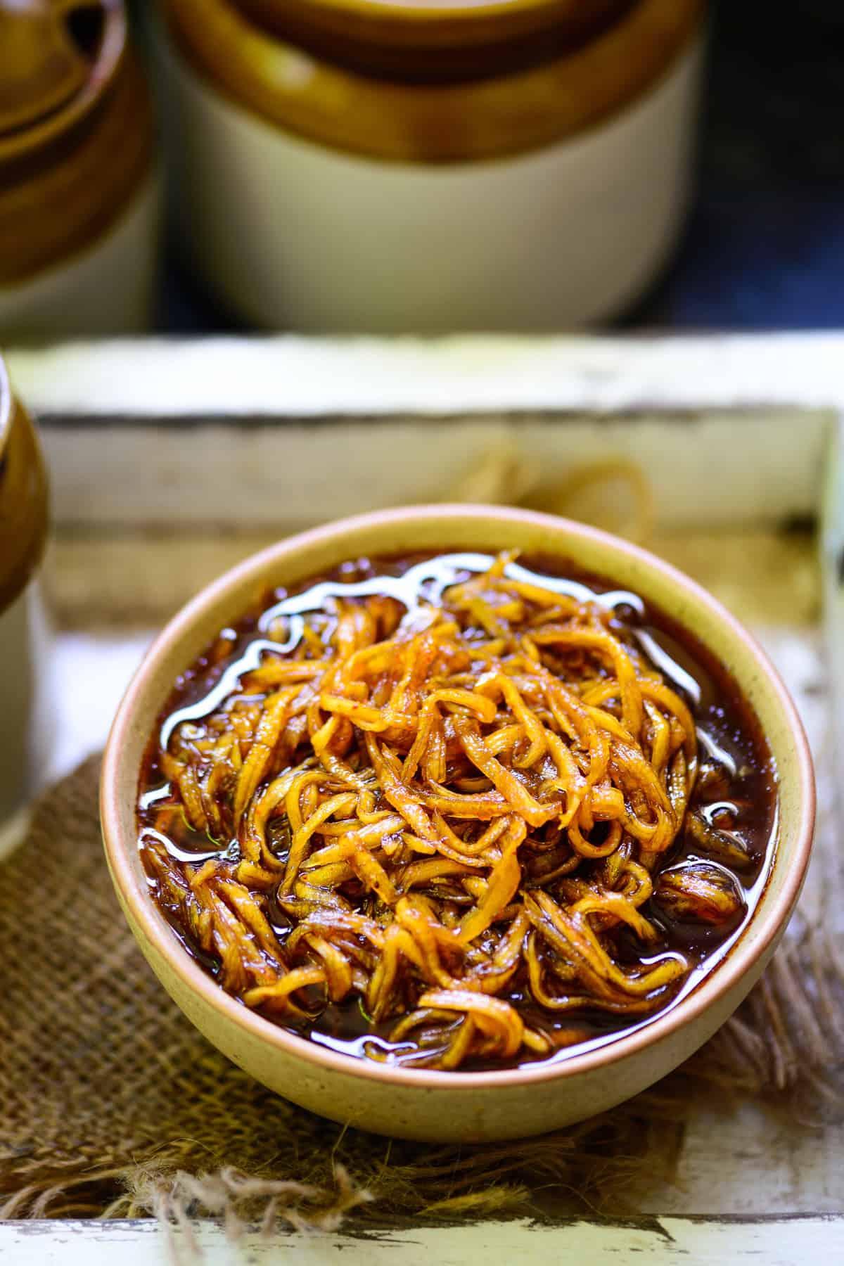 Aam Chunda served in a bowl.