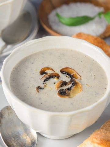 Cream of mushroom soup is a simple, easy to make, yet a delicious creamy homemade soup made with a variety of mushrooms. With a little nip in the air, this is perfect to warm you up. Here is how to make it at home.