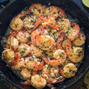 Lemon Garlic Butter Shrimp is super easy to make party appetizer or side which gets done in under 10 minutes. Made with few basic ingredients, these shrimps in butter and garlic sauce are a crowd-pleaser. Here is how to make Garlic Butter Shrimp Recipe.
