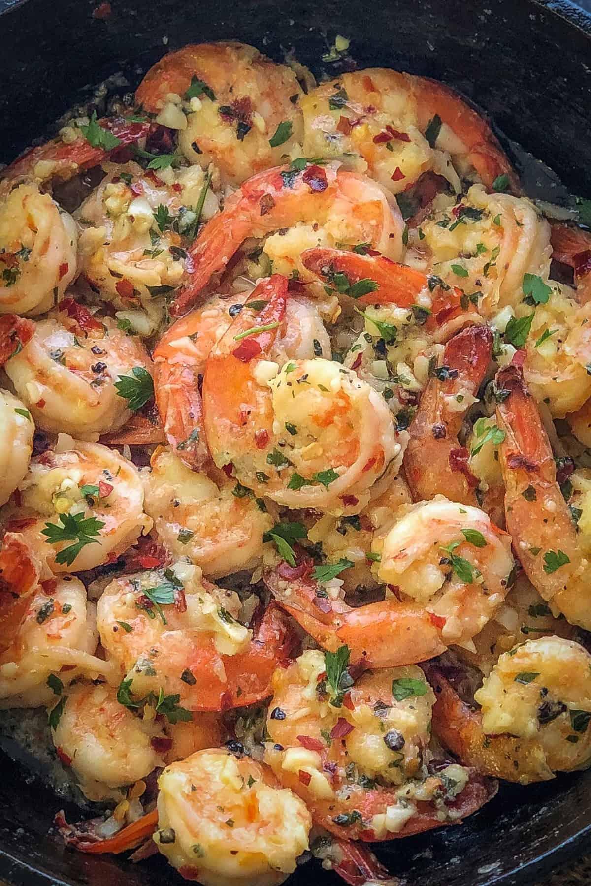 Close up shot of garlic butter shrimp.