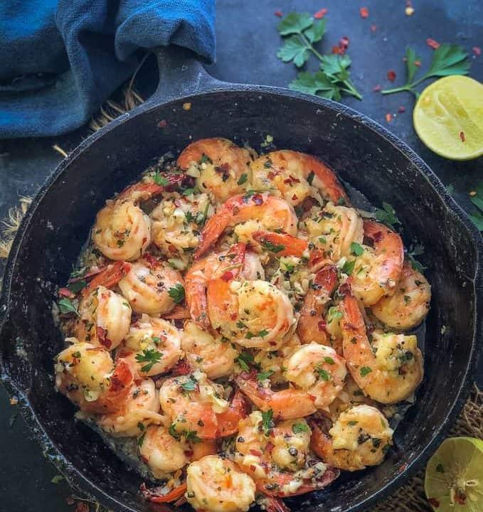 Garlic Butter Shrimp served in a pan.