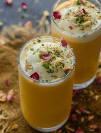 Mango Mastani Drink served in a glass.