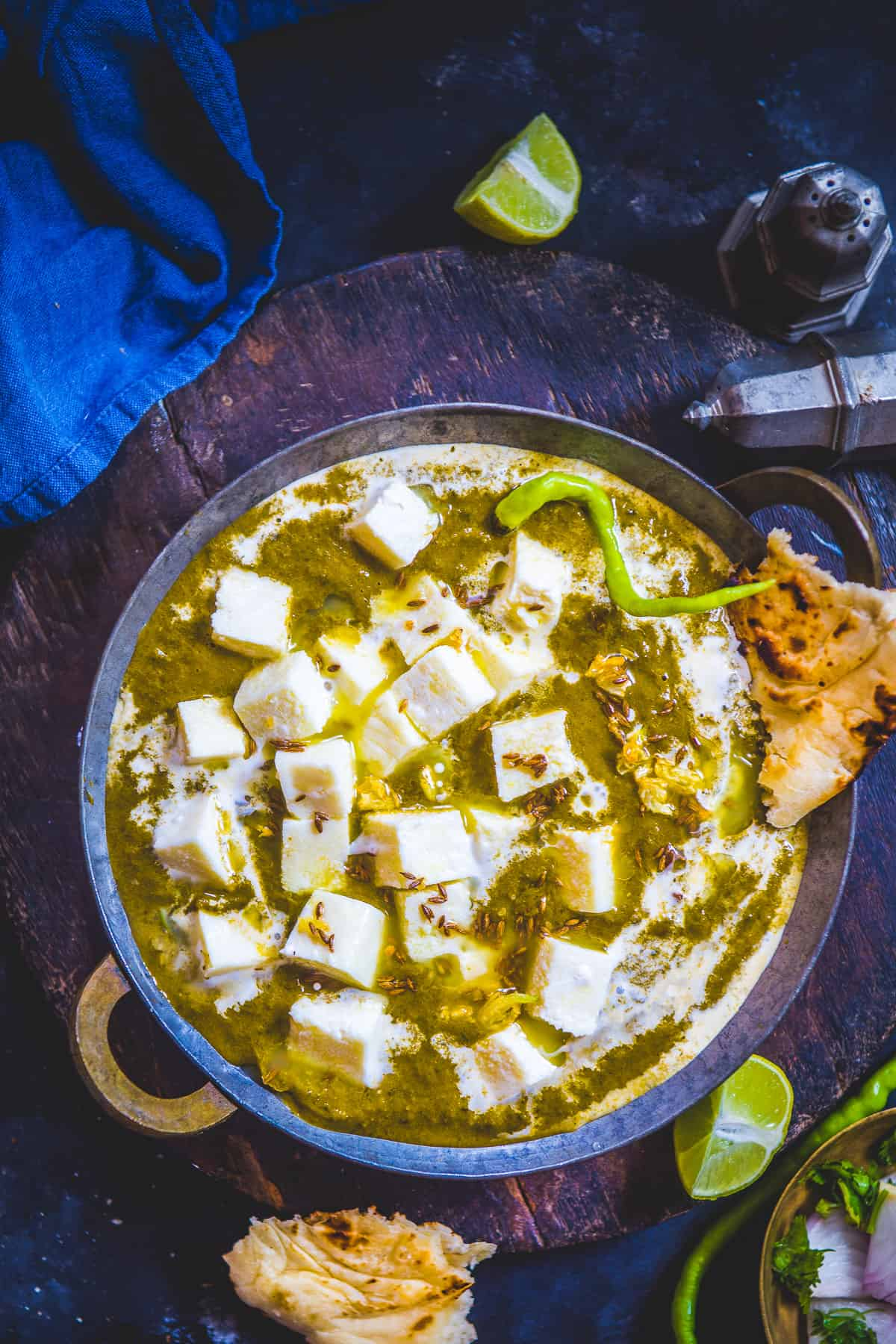 Palak Paneer served in a bowl.