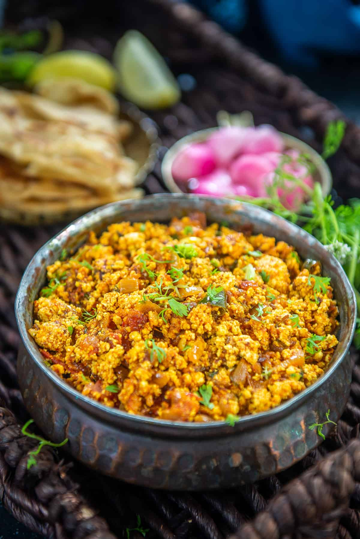 Paneer Bhurji served in a bowl.