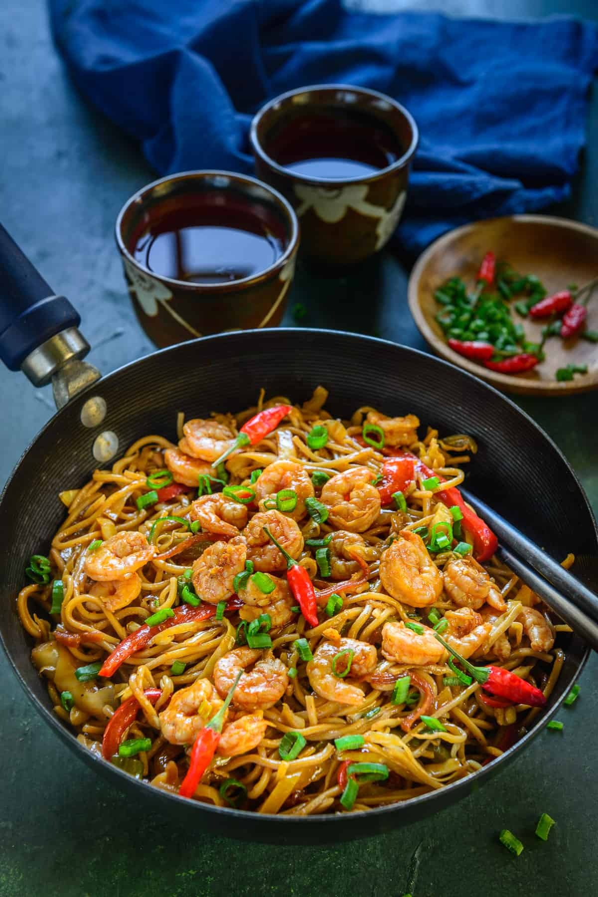 Shrimp Chow Mein served in a large bowl.
