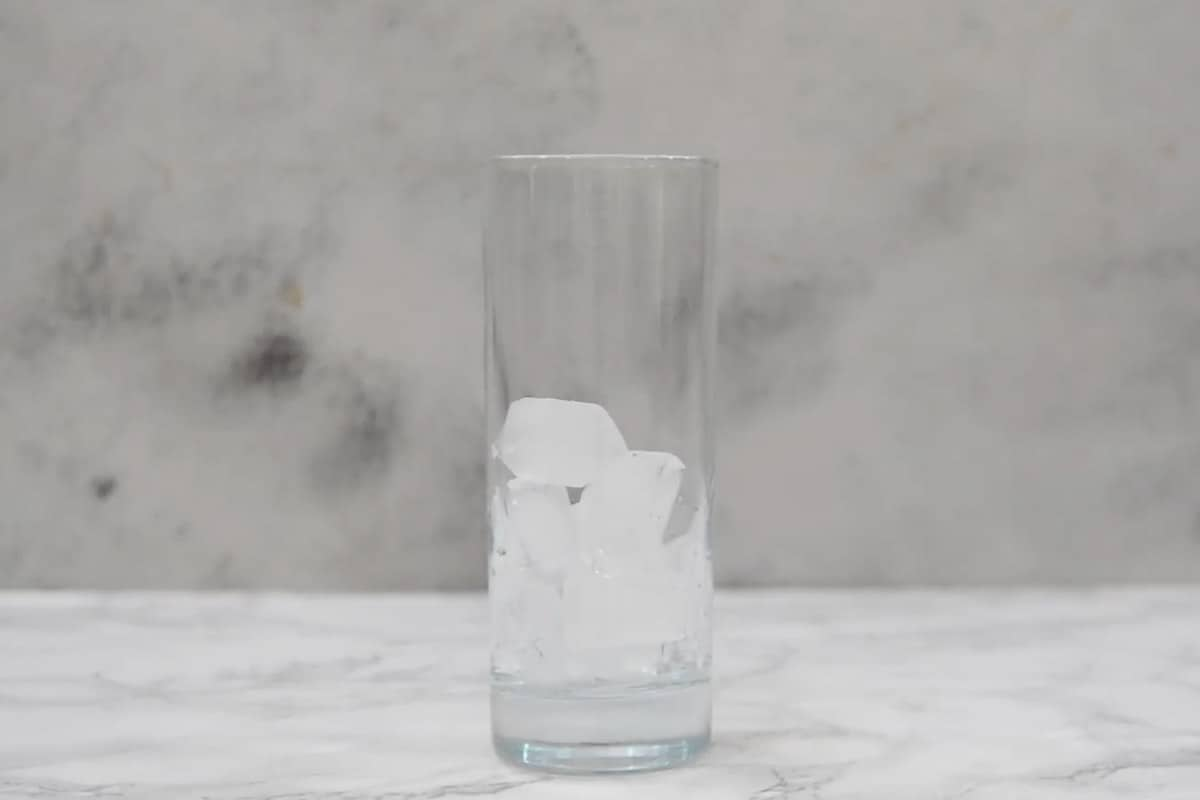 Ice added in a glass.