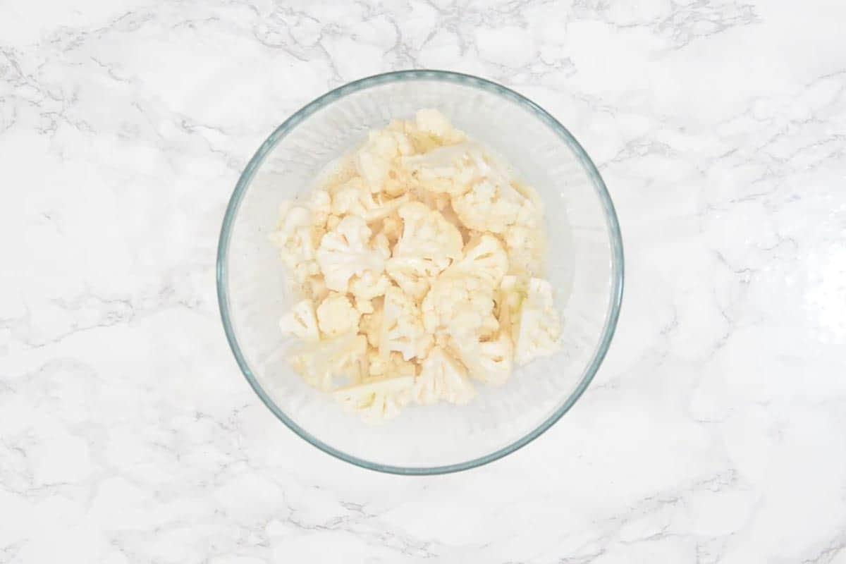 Cauliflower florets in the bowl.