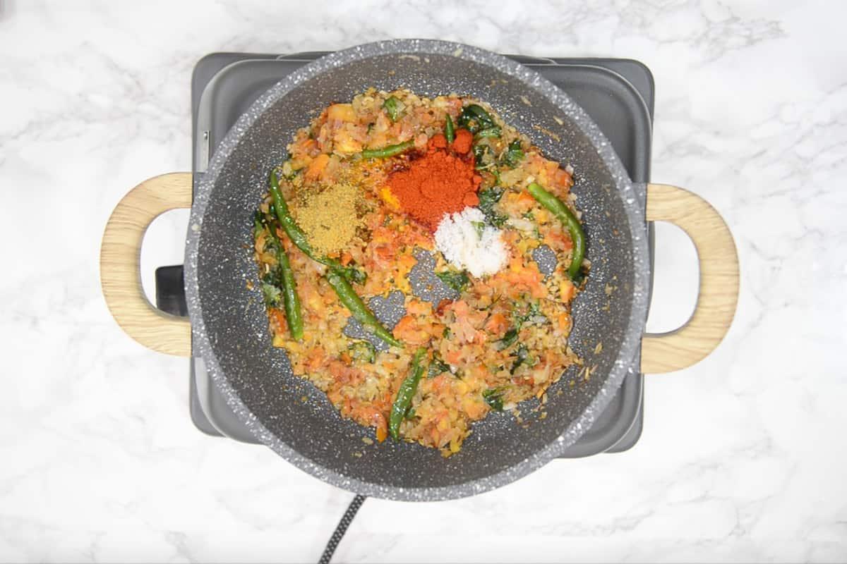 coriander powder, turmeric powder, red chilli powder and salt added in the pan.