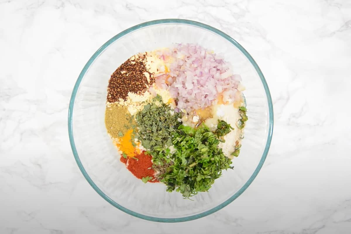 All the ingredients mixed in a bowl.