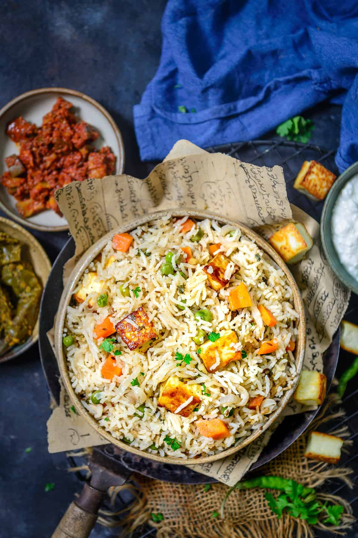 Paneer Pulao served in a bowl.