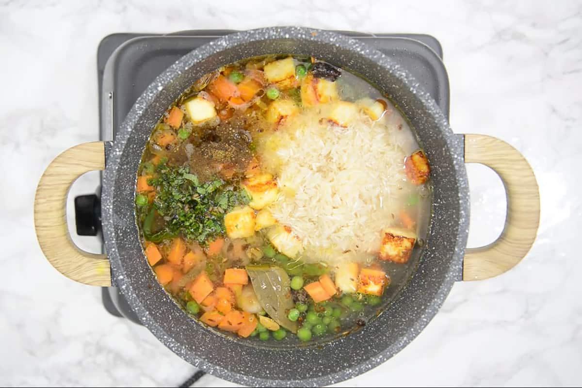 Fried paneer pieces, salt, garam masala powder, water, coriander and mint added in the pan.