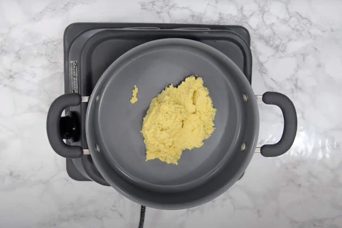 Mixture transferred in a pan.