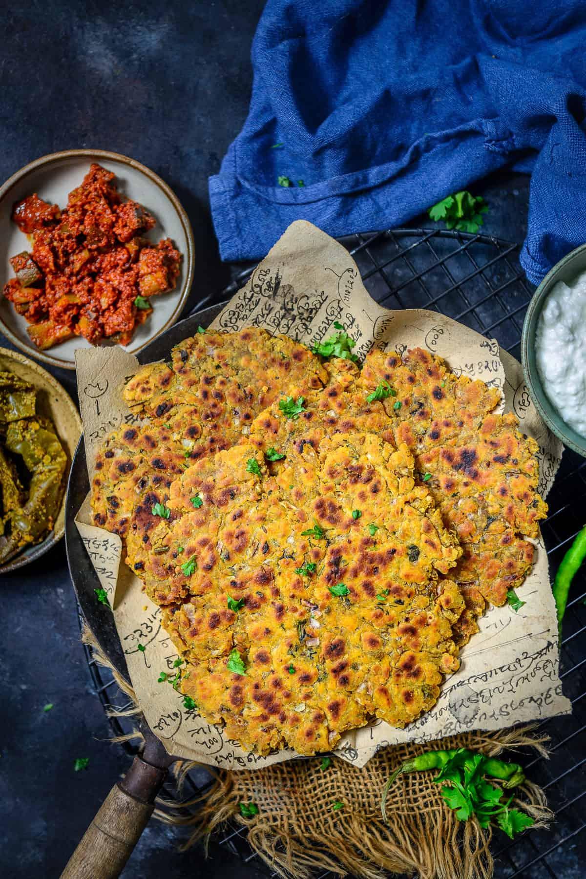Sindhi Koki served on a plate.
