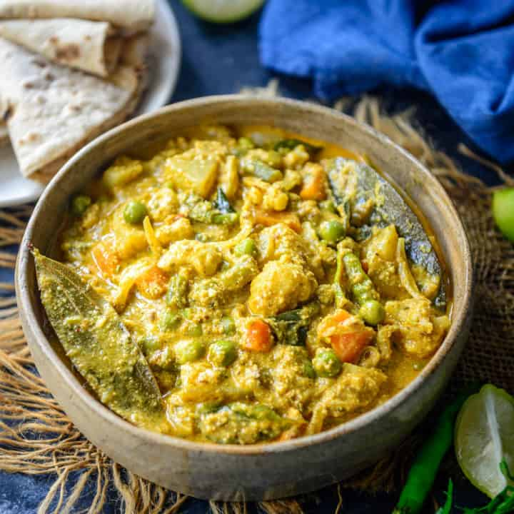 Make this Hotel Style Mix Veg Kurma at the comfort of your home using my simple recipe. It has beautiful flavors from coconut, poppy seeds and other spices.