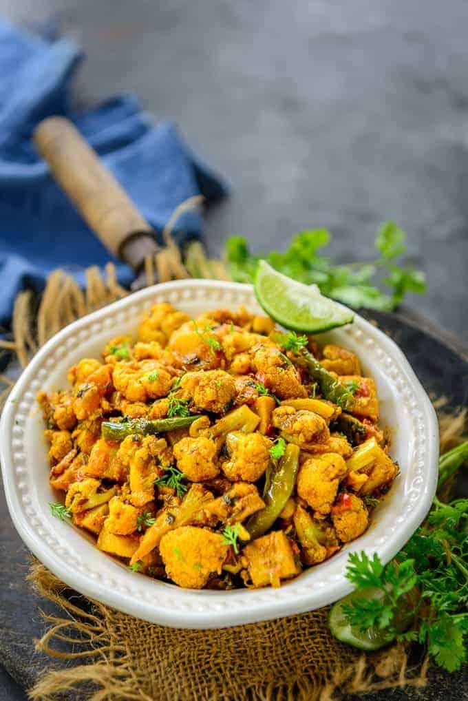 Aloo Gobi served in a bowl.