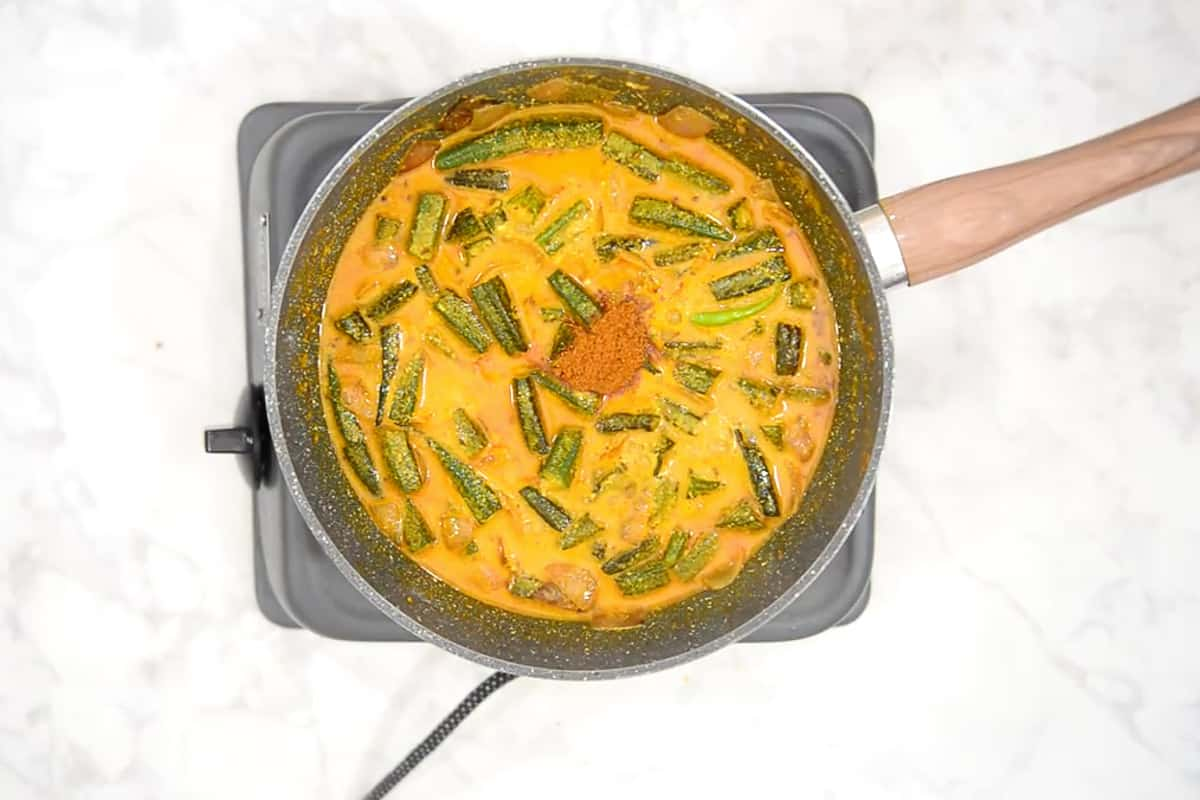 Garam masala powder added in ready dahi bhindi.