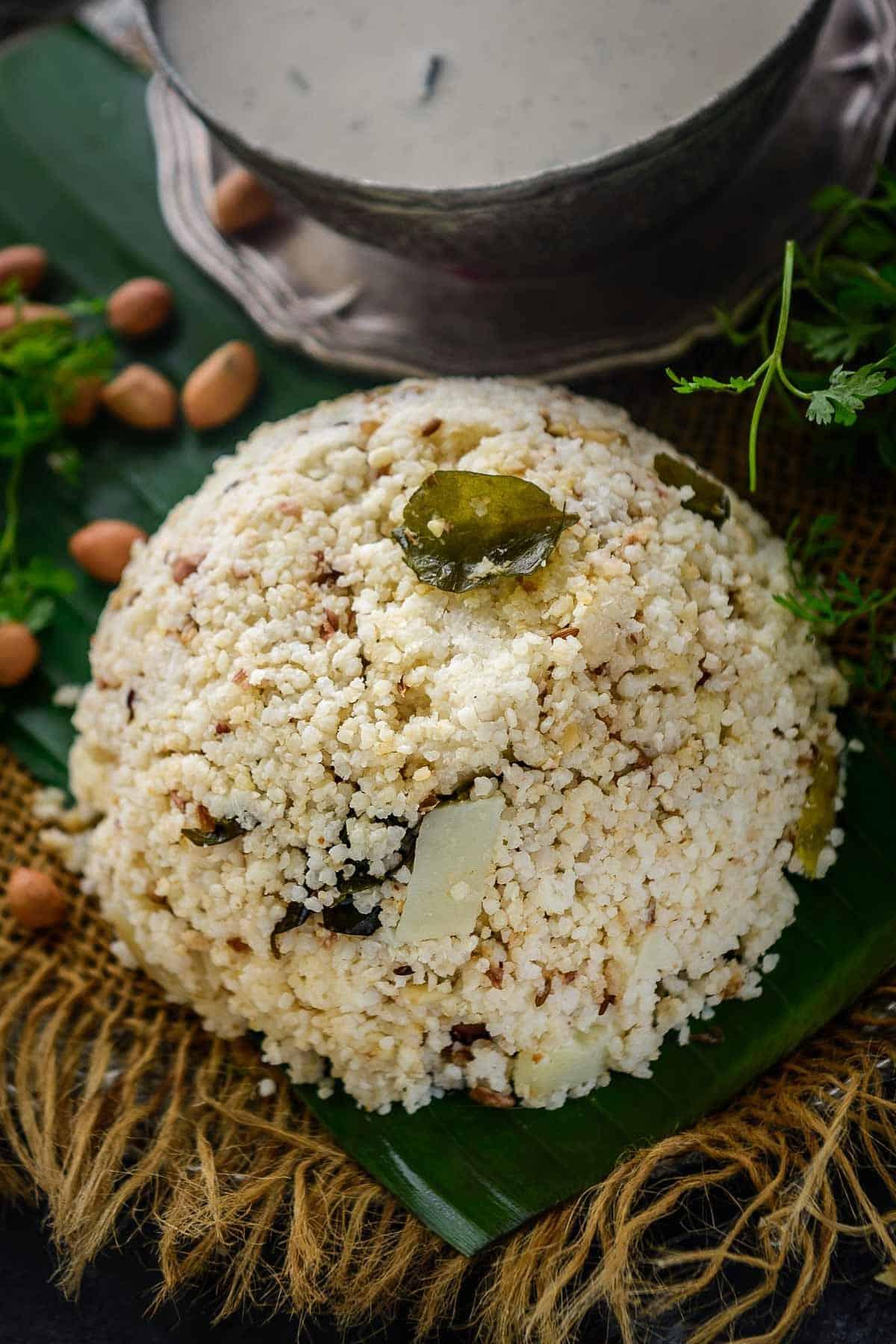 Bhagar khichdi served on a plate.