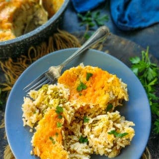 Broccoli Rice Casserole served on a plate.