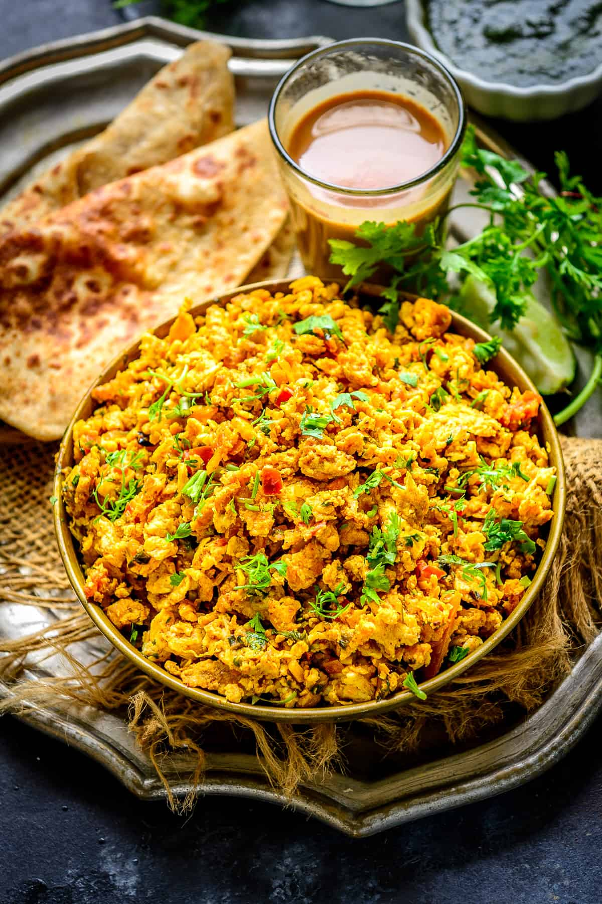 Egg Bhurji served in a bowl.