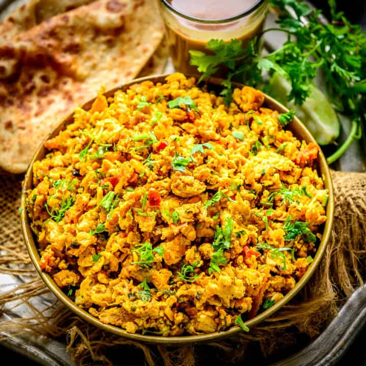 Also known as anda bhurji, egg bhurji is a spicy and flavourful Indian style scrambled eggs recipe that is quite famous in the streets of Northern and Western India. It is easy to make, healthy, and tastes delicious. My recipe uses a special masala which makes this dish stand apart.