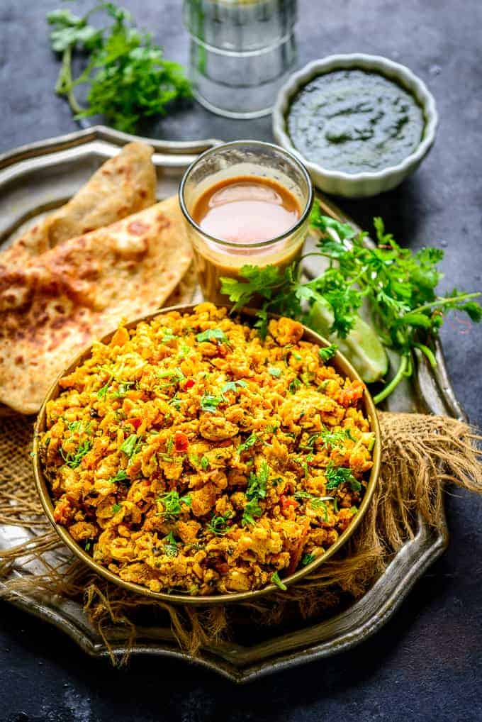 Egg bhurji served in a bowl.