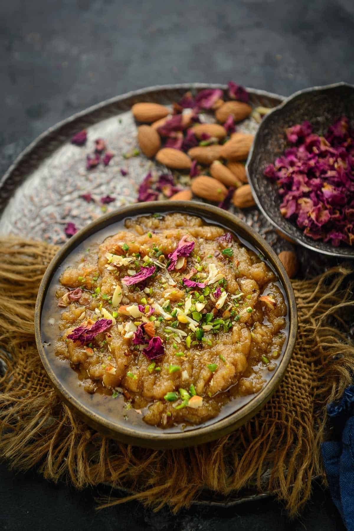 Rajgira halwa served in a bowl.