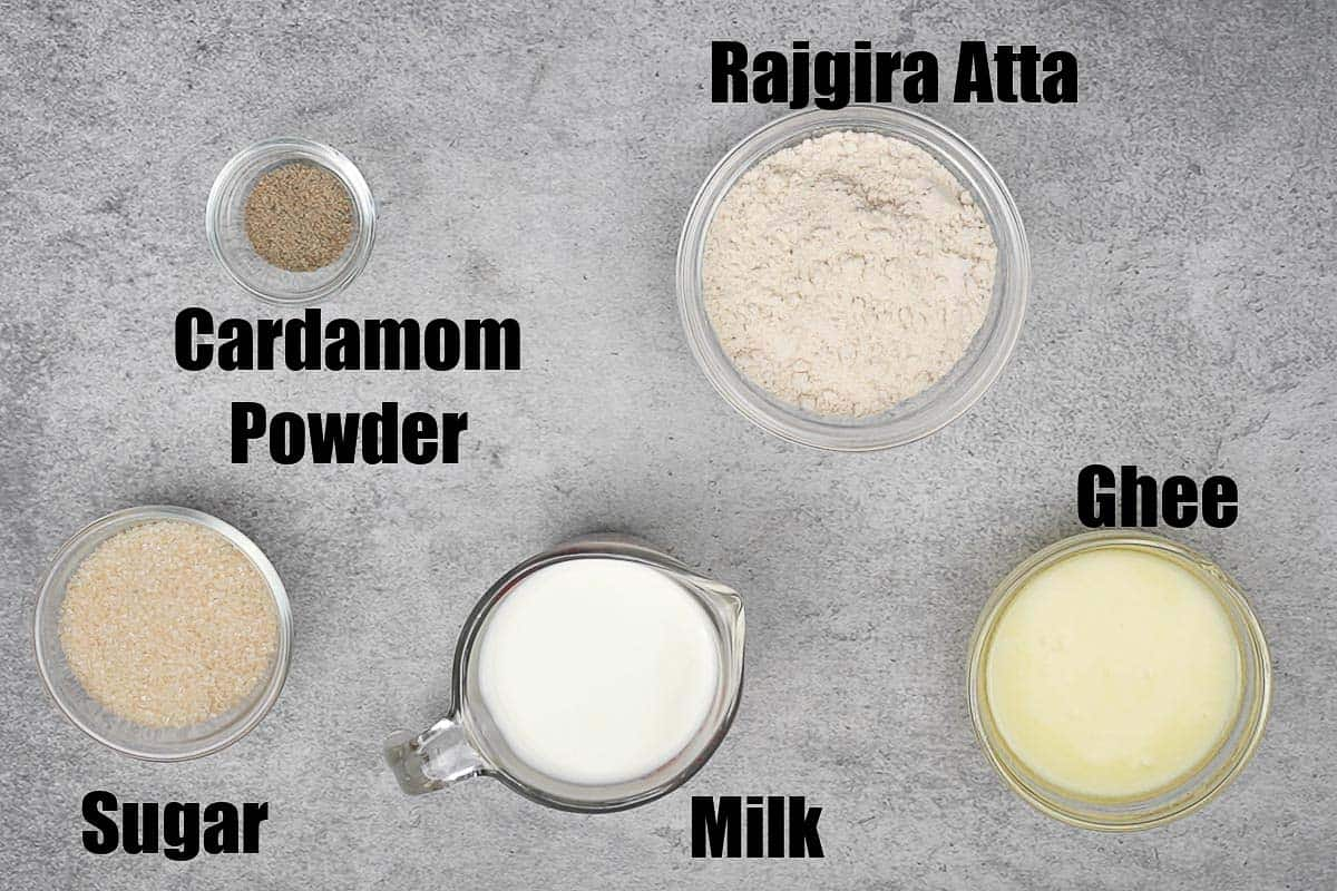 Rajgira halwa ingredients.