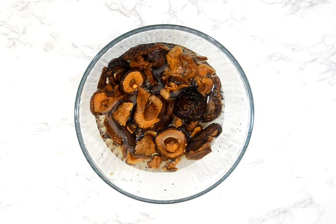 Dry mushrooms soaked in water.