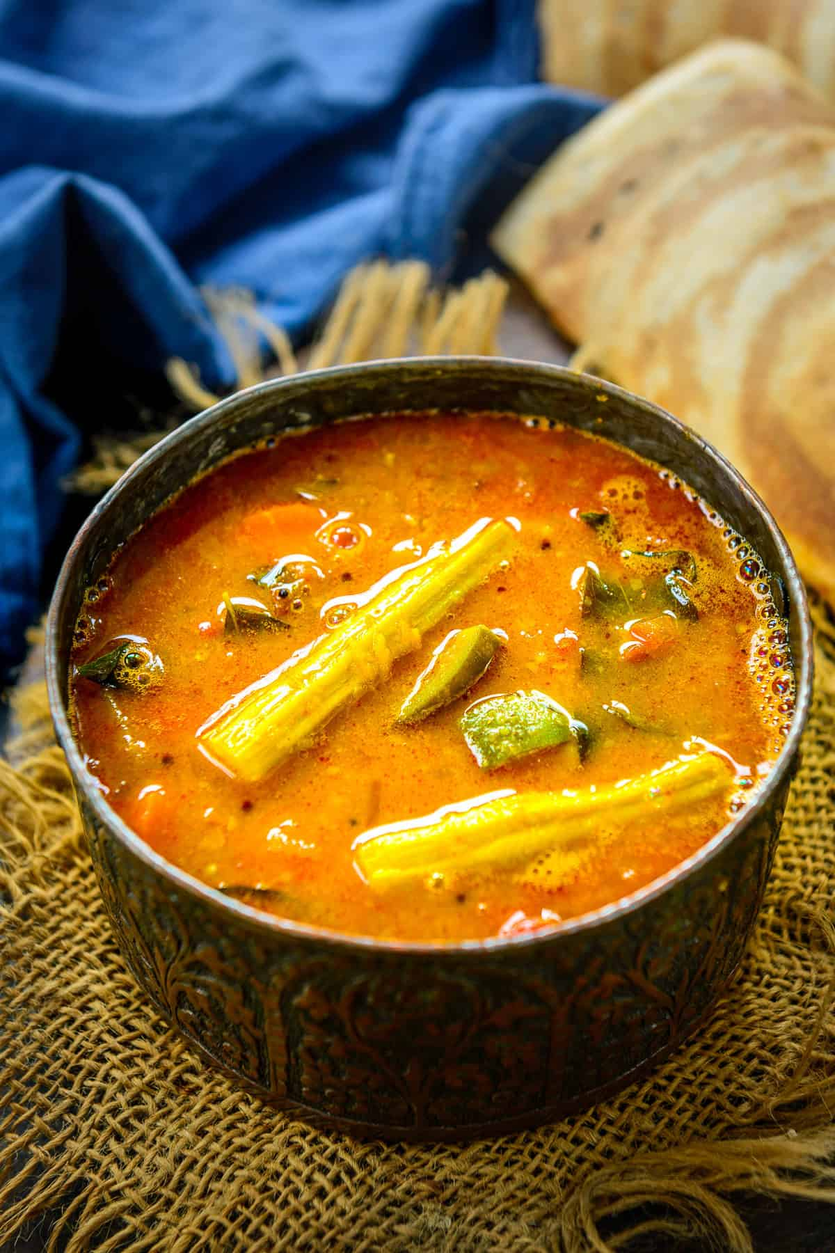 Sambar served in a bowl.